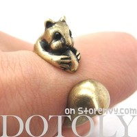Squirrel Chipmunk With Acorn Animal Wrap Around Ring in Brass | US Sizes 5 - 9