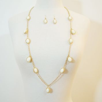 White Candy Drop Necklace & Earrings Set