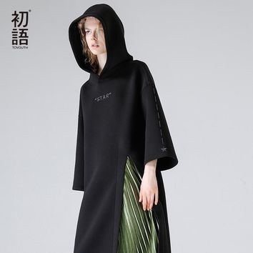 Toyouth Autumn Women Embroidery Stars High Split Hooded Dresses Female Loose Black Wrist Sleeve Long Dress Hoodies Vestidos