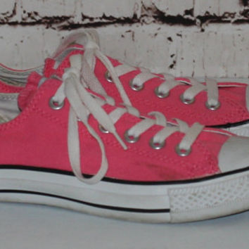 40% OFF 90s Hot Pink Converse Chuck Taylor 7 Sneakers Grunge Punk Hipster Pastel Goth Festival shoes distressed Canvas Neon bright