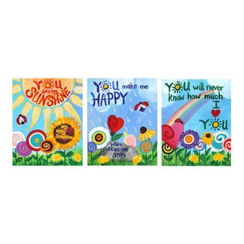 You Are My Sunshine, ART PRINTS, 16x20 Giclee Set of 3,  Flower Garden Themed Decor for Kids, Colorful Nursery Art