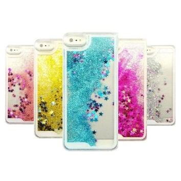 Transparent Fashion Dynamic Liquid Glitter Colorful Paillette Sand Quicksand Back Case Cover For iPhone 5 5S SE 6 6S