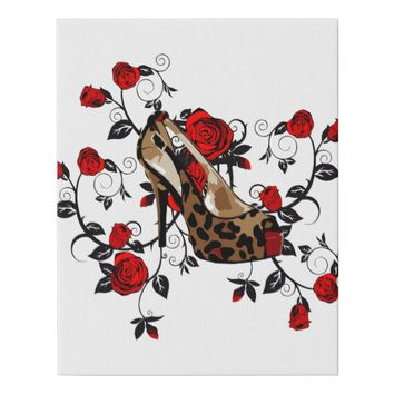 Leopard High Heel Shoes Red Roses Fashion Art Faux Canvas Print