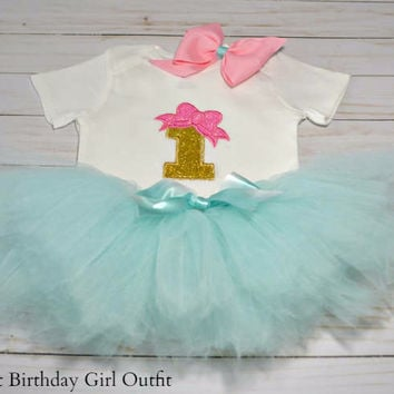 Baby Girl First Birthday Outfit Pink And Gold