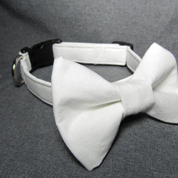 Designer Dog Collar - White Dog Collar and Bowtie - Wedding dog collar, bow tie dog collar