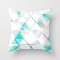 Teal and Grey Triangle Design Throw Pillow by T30 Gallery