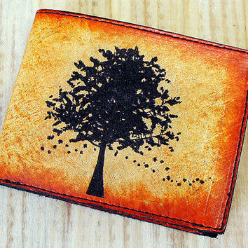 Slim Bi-Fold Leather Wallet - Autumn Tree