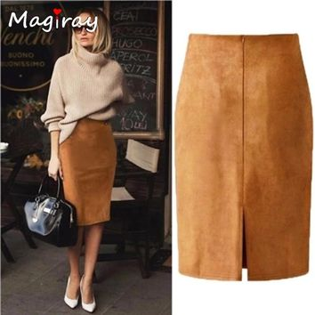 Magiray Harajuku Sexy High Waist Suede Midi Skirt Women 2018 Autumn Winter Split Red Black Pink Female Leather Pencil Skirt C333