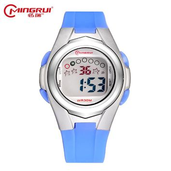 MINGRUI Wrist Watch Children Waterproof Silicone Digital Watch Alarm Luminous LED Sport Watches Students Girl Boy Hour Gift