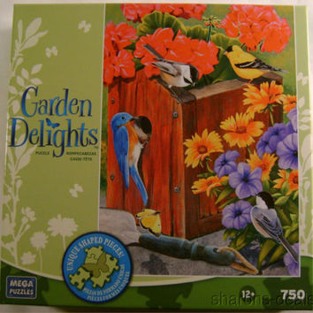 Garden Delights 750 Pc Jigsaw Mega Puzzle 19x27 No Vacancy Birdhouse Flowers NIB