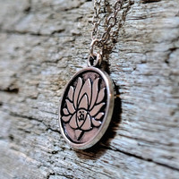 Lotus Flower Engraved Spiritual Hippie Buddhist Yoga Meditation Zen Necklace