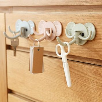 Top quality Decorative Wall Coat Hook Plastic animal elephant head modern hooks for wall clothing Jewelry Keys hangers