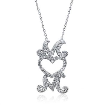"925 Silver Round White Zirconia Heart MOM Pendant with 16"" + 2"" Extender"