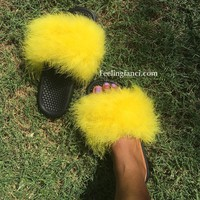 Yellow faux fur  slides