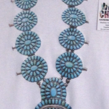 Boho chic Native American turquoise squash blossom graphic necklace organic cotton girl's or toddler tank Coachella style