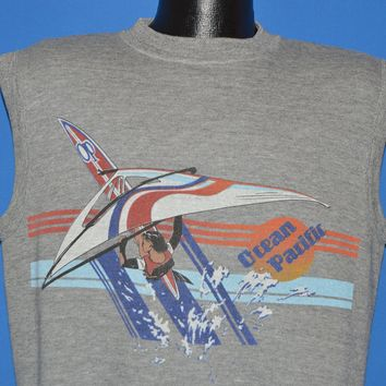80s Ocean Pacific Wind Surfing Sleeveless Sweatshirt Medium