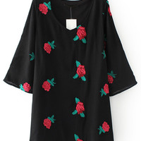 Black Floral Embroidered V Neck Dress