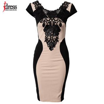 IDress Sale Vestitos Women Elegant Embroidery Bodycon Dress Patchwork Summer Style Casual 2016 Bandage Dress Cheap Clothes China