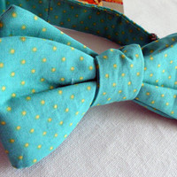 Mens Self Tie Bowtie - Wedding Accessories Formal Groom and Groomsmen - Hipster Preppy Turquoise Aqua with Yellow Polka Dots