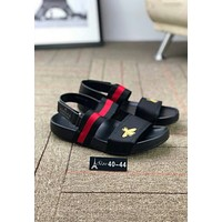 Gucci Popular Women Men Red Black Stripe Bee Embroidery Sandals Slippers Shoe I-CSXY
