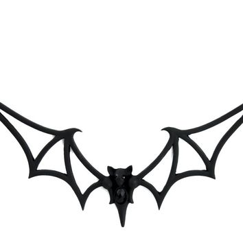 Black Vampire Bat Necklace Wire Frame Alternative Gothic Jewelry Dracula Halloween