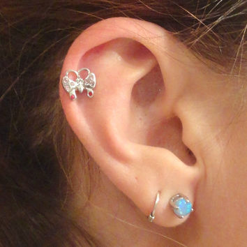 Pink Butterfly Cartliage Earring Tragus Helix Piercing
