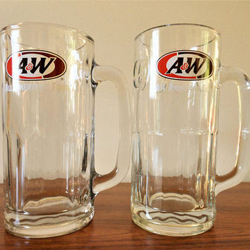 Father's Day!! Two Vintage A&W Root Beer Mugs, Root Beer Float Mugs, Root Beer Steins, Large Soda Glasses