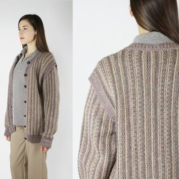 Irish WOOL sweater earthy muted tones warm knit LARGE XL button down cardigan