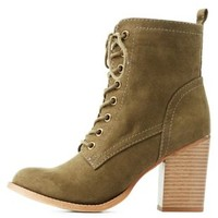 Olive Chunky Heel Lace-Up Booties by Charlotte Russe