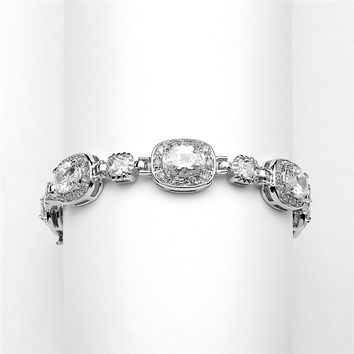 "6 1/2"" Designer CZ Bridal or Special Occasion Bracelet in Silver Rhodium"