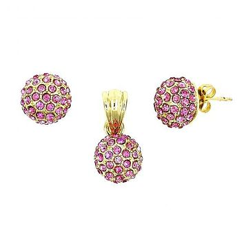 Gold Layered 10.160.0051 Earring and Pendant Adult Set, Ball and Hollow Design, with Rhodolite Crystal, Polished Finish, Gold Tone