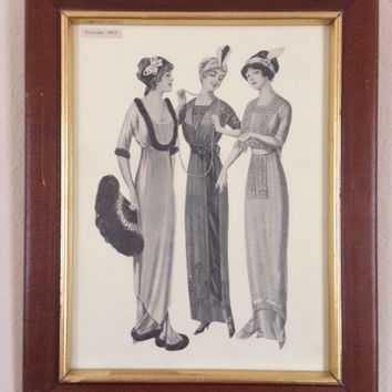 Flapper Girl Vintage Framed Fashion Print from 1912