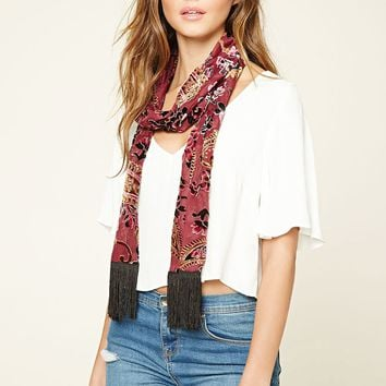 Floral and Paisley Print Scarf