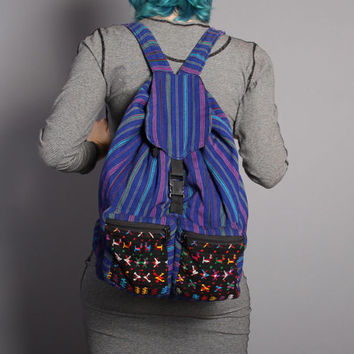 80s GUATEMALAN BACKPACK / Large Colorful Woven Cotton Festival Bag