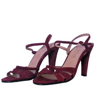 Vintage Sandals Heels Burgundy Suede High Heels 1970s Meier & Frank Shoes Made in Italy Strappy Design with Ankle Straps and Buckle - Size 7