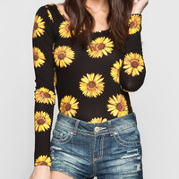 Eyeshadow Sunflower Womens Crop Tee Multi  In Sizes
