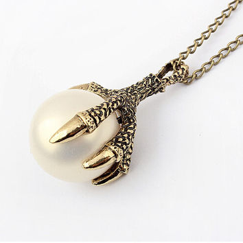 vitage bronze dragon claw  woth fake white pearl necklace cosplay  costume jewelry jewellery