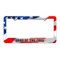 Land Of The Free - USA Country Flag - License Plate Tag Frame - American Flag Design