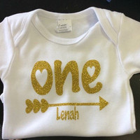 Personalized glitter gold one first birthday TOP