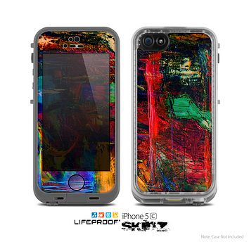 The Abstract Colorful Painted Surface Skin for the Apple iPhone 5c LifeProof Case