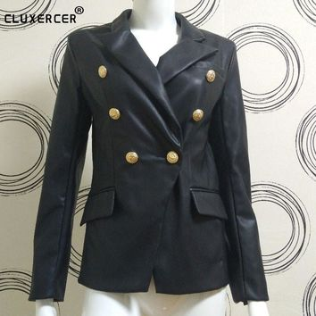 Runway Fashion NEW Brand Women Black Double Breasted Leather Jacket Golden Buttons Slim leather jacket women