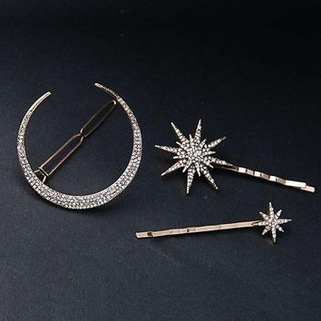 ( 3 pcs / set )Branded Design Star Moon Rhinestone Hair Clip Hairpins Fashion Hairpins Accessories Women Jewelry