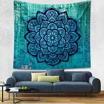 Boho Hippie Mandala Green Lotus Tapestry Bedspread,  Beach Throw, Yoga Mat,  Home Decor 150*130c Polyester