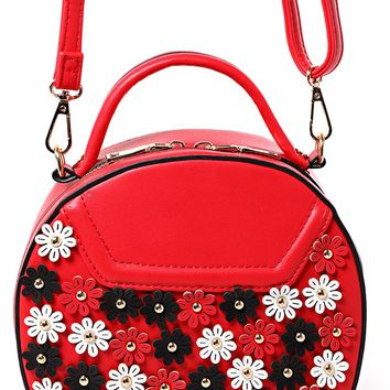 Floral Embellished Round Across Body Bag in Red