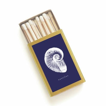Nautilus Shell Matchbox - Nautical Illustration Matches - Beach Wedding Favor - Navy Blue and Gold - Beachcombing - Light a Nautical Spark