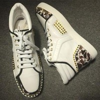 DCCK Cl Christian Louboutin Lou Spikes Style #2192 Sneakers Fashion Shoes