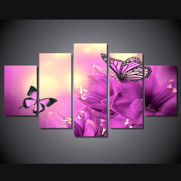 Butterfly flower purple violet 5 panel wall art print on canvas