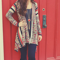 Unforgettable Cardigan: Tan/Red/Black