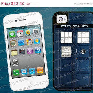 SALE Tough iPhone 4/5 case with rubber lining- Tardis Doctor Who iPhone hard case, 2 piece rubber lining case