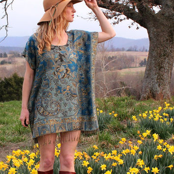 Hippie Boho Mini Dress Tunic Shirt Turquoise & Gold Floral Ethnic Indian Gypsy Caftan Kaftan Fringe OSFA One Size Silk and Cashmere